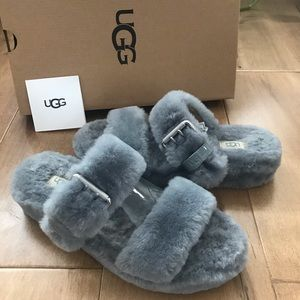 UGG 'Fuzz Yeah' Charcoal slipper shoes sandals